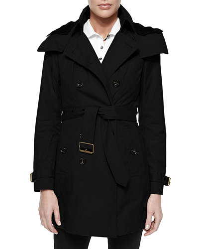Burberry Brit Hooded Canvas Trench Coat