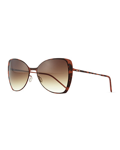 Italia Independent I-Metal Lightweight Butterfly Sunglasses