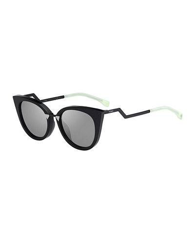 Cat-Eye Crooked-Arm Acetate Sunglasses