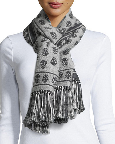 Skull-Print Cold Weather Scarf