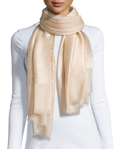 Sequin-Detail Metallic-Cashmere Wrap