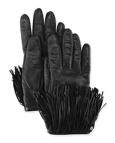 Diane von Furstenberg Leather Gloves with Fringe Trim