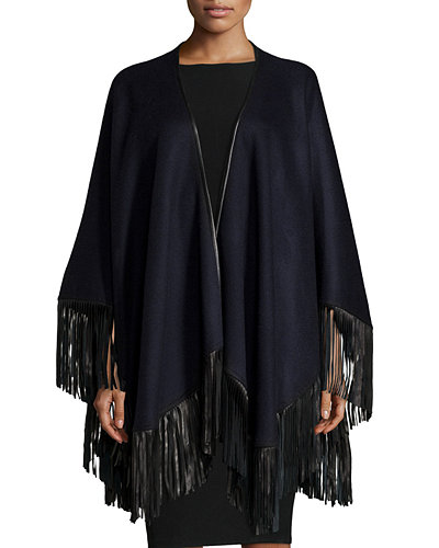 Cashmere Leather-Fringe Cape