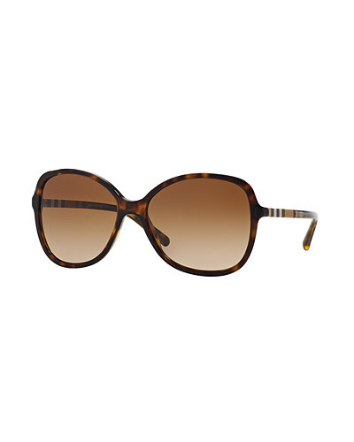 BurberryOversize Check-Temple Square Sunglasses