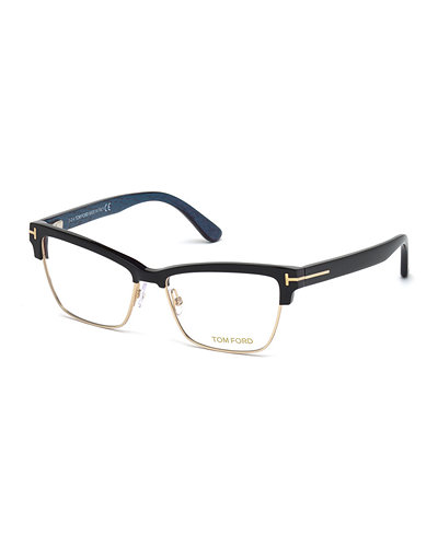 TOM FORD Square Dual-Rimmed Metal Fashion Glasses