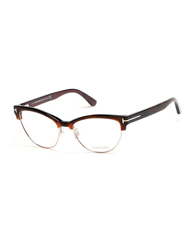 TOM FORD Cat-Eye Dual-Rimmed Fashion Glasses