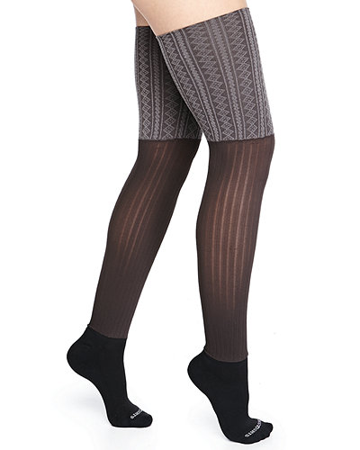 Cushioned Mixed-Knit Knee Socks
