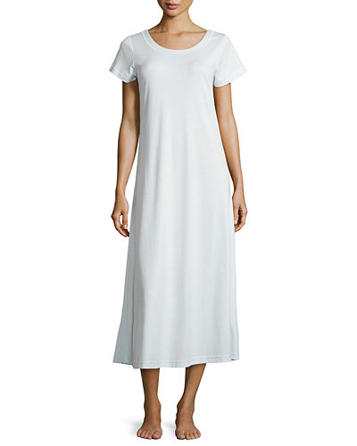 P. Jamas Butterknit Short-Sleeve Long Gown