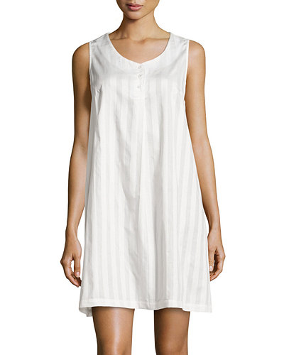 P Jamas Tina Shadow-Stripe Sleeveless Sleepshirt