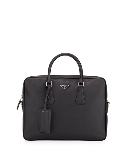 Saffiano Slim Briefcase with Shoulder Strap