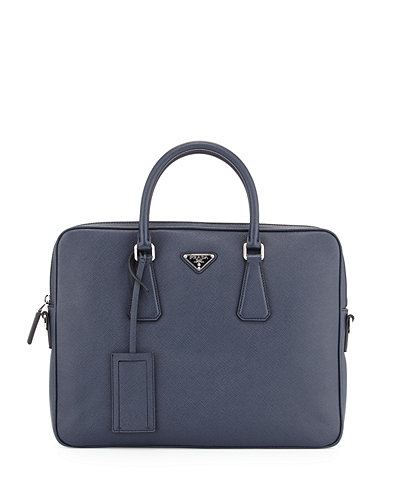 Prada Saffiano Slim Briefcase with Shoulder Strap