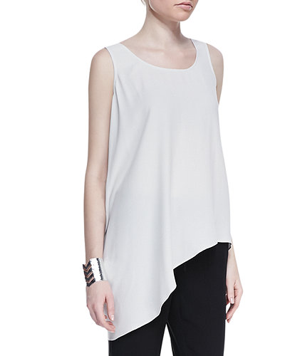 Eileen Fisher Silk Asymmetric Draped Shell, Petite, Bone