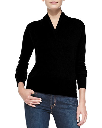 Faux Wrap Cashmere Sweater