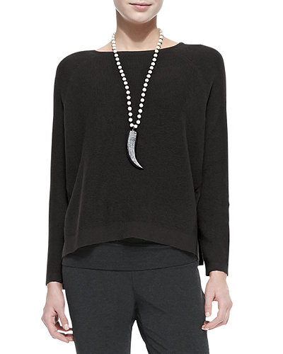 Thermal-Stitch Long-Sleeve Box Top