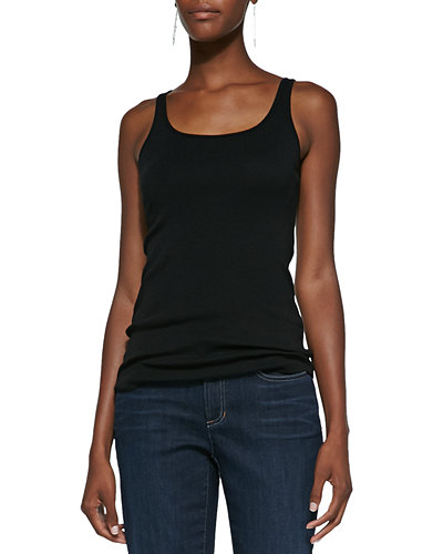 Organic Cotton Slim Tank, Black, Plus Size