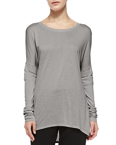 Boat-Neck Tee W/ Mesh Inset Sleeves
