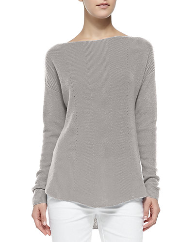 Vince Cashmere Ribbed Boatneck Sweater