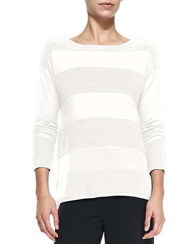 Ottoman Sheer/Solid Striped Sweater
