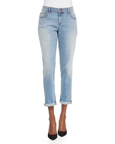 Stretch Boyfriend Jeans, Faded Blue, Petite