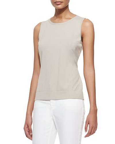 Lafayette 148 New York Matte Crepe Shell, Sterling