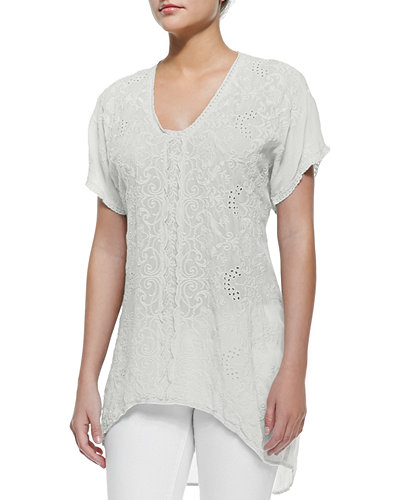 Short-Sleeve Long Georgette Blouse