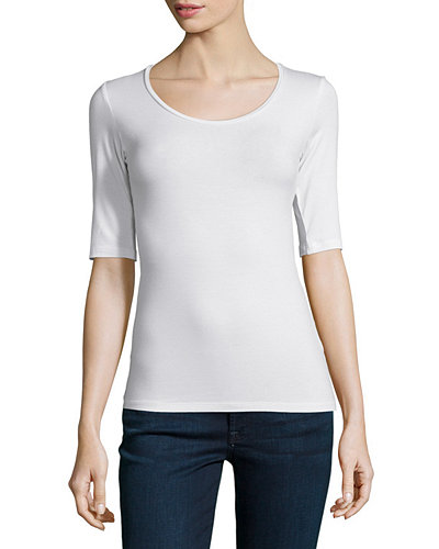 Soft Touch Half-Sleeve Scoop-Neck Top