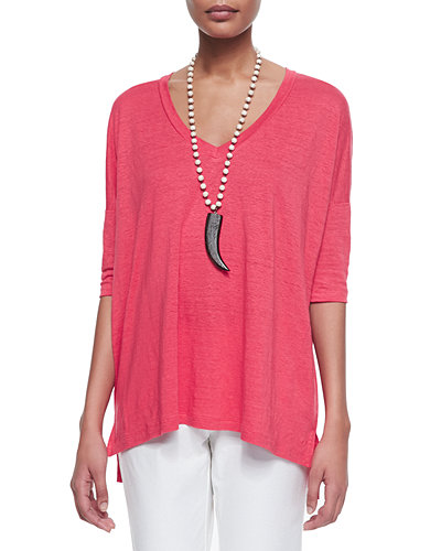 Linen V-Neck Boxy Tunic, Women