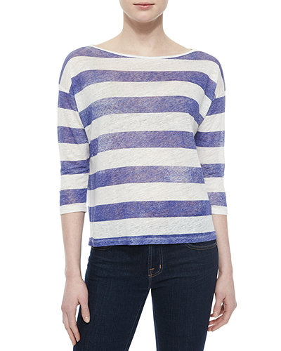 Majestic Paris for Neiman Marcus 3/4-Sleeve Striped Linen Top