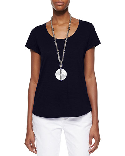 Slubby Short-Sleeve Scoop-Neck Tee