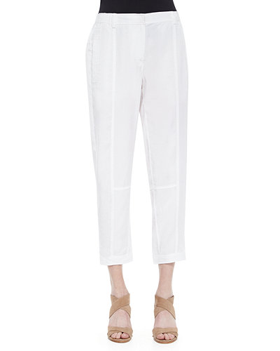 Eileen Fisher Twill Button-Cuff Ankle Pants