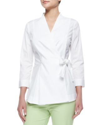 Lafayette 148 New York Jillian Wrap Blouse W/ Side-Tie