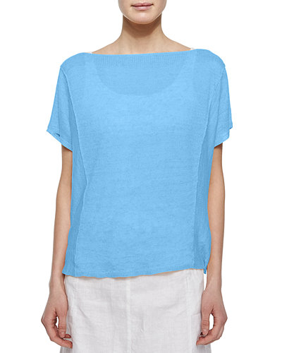 Eileen Fisher Short-Sleeve Organic Linen Top