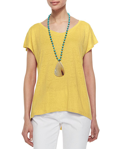 Linen Jersey Cap-Sleeve Top, Women