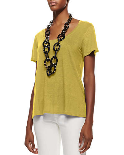 Short-Sleeve Organic Linen Lucky Tee, Women
