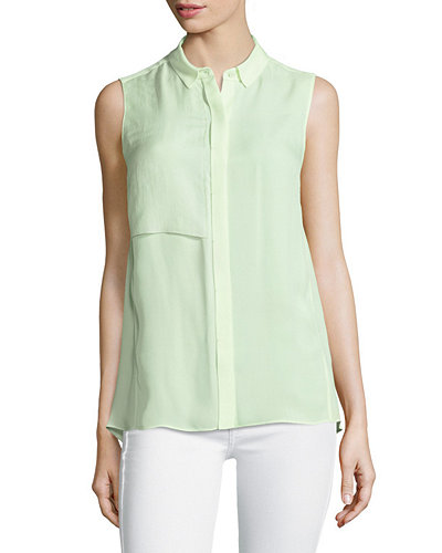 Elie Tahari Shelby Sleeveless Silk Blouse