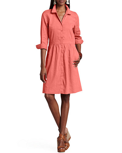 Eileen Fisher 3/4-Sleeve Linen-Blend Shirtdress, Petite