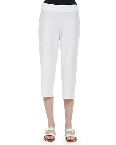 Slim Crepe Capri Pants, White, Plus Size