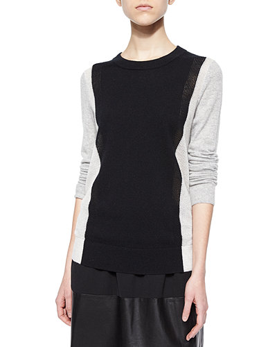 Vince Two-Tone Knit Cashmere Sweater