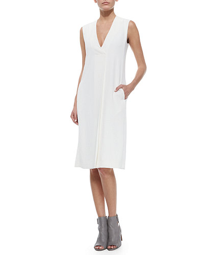 V-Neck A-Line Crepe Dress