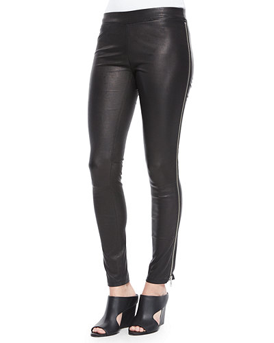 Vince Side-Zip Leather Leggings