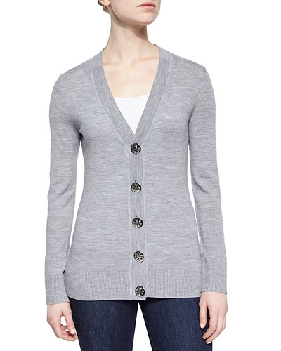 Simone Button-Front Wool Cardigan