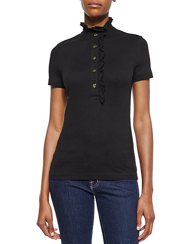 Tory Burch Lidia Short-Sleeve Ruffled Polo