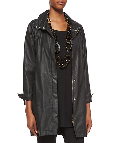 Eileen Fisher Waxed Twill A-line Jacket