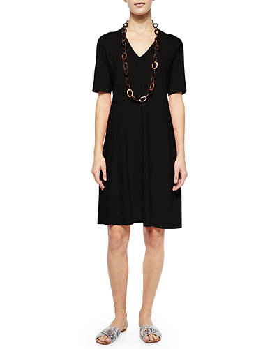 Eileen Fisher Half-Sleeve Hemp Twist Dress, Women's