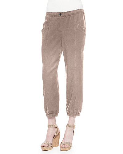Lightweight Tapered Twill Pants, Petite