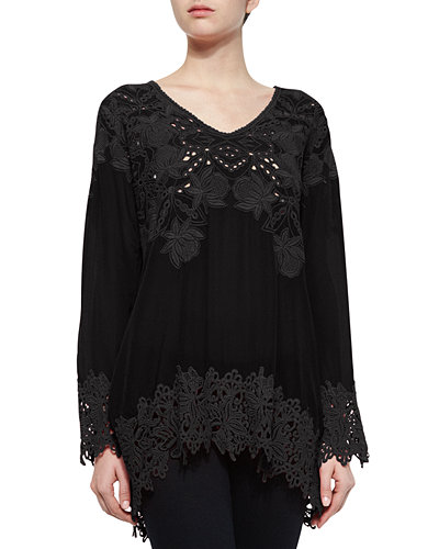 Johnny Was Collection Lacy V-Neck Georgette Tunic, Petite