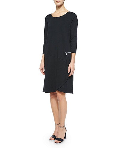3/4-Sleeve Shift Dress W/ Zipper Detail