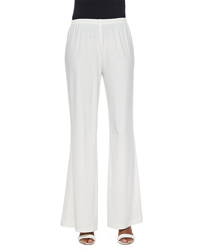 Stretch-Knit Wide-Leg Pants, White