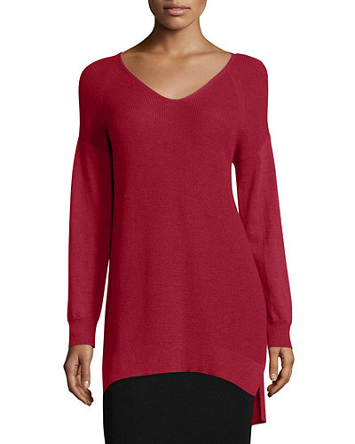 Eileen Fisher Washable Wool Long V-Neck Top, Petite