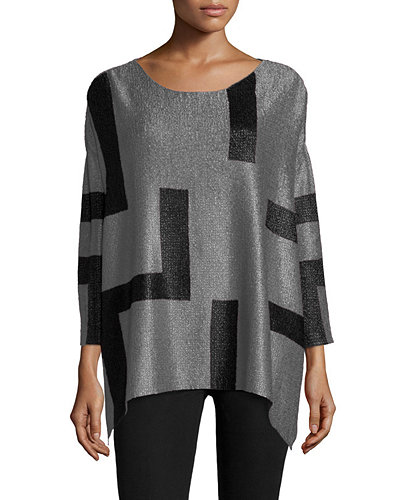 Berek 3/4-Sleeve Abstract Pullover Tunic, Petite